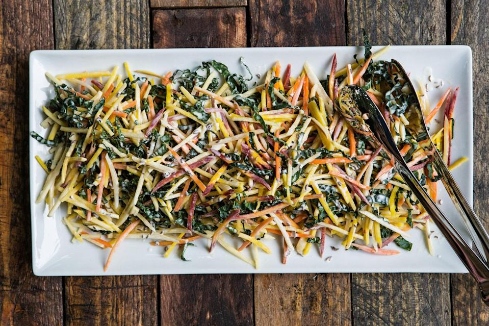 "Nutty caraway adds a pop of flavor to this sweet combination of apples, beets, and carrots. <a href=""https://www.epicurious.com/recipes/food/views/carrot-yellow-beet-and-apple-slaw-with-caraway-seed-dressing-56389807?mbid=synd_yahoo_rss"" rel=""nofollow noopener"" target=""_blank"" data-ylk=""slk:See recipe."" class=""link rapid-noclick-resp"">See recipe.</a>"