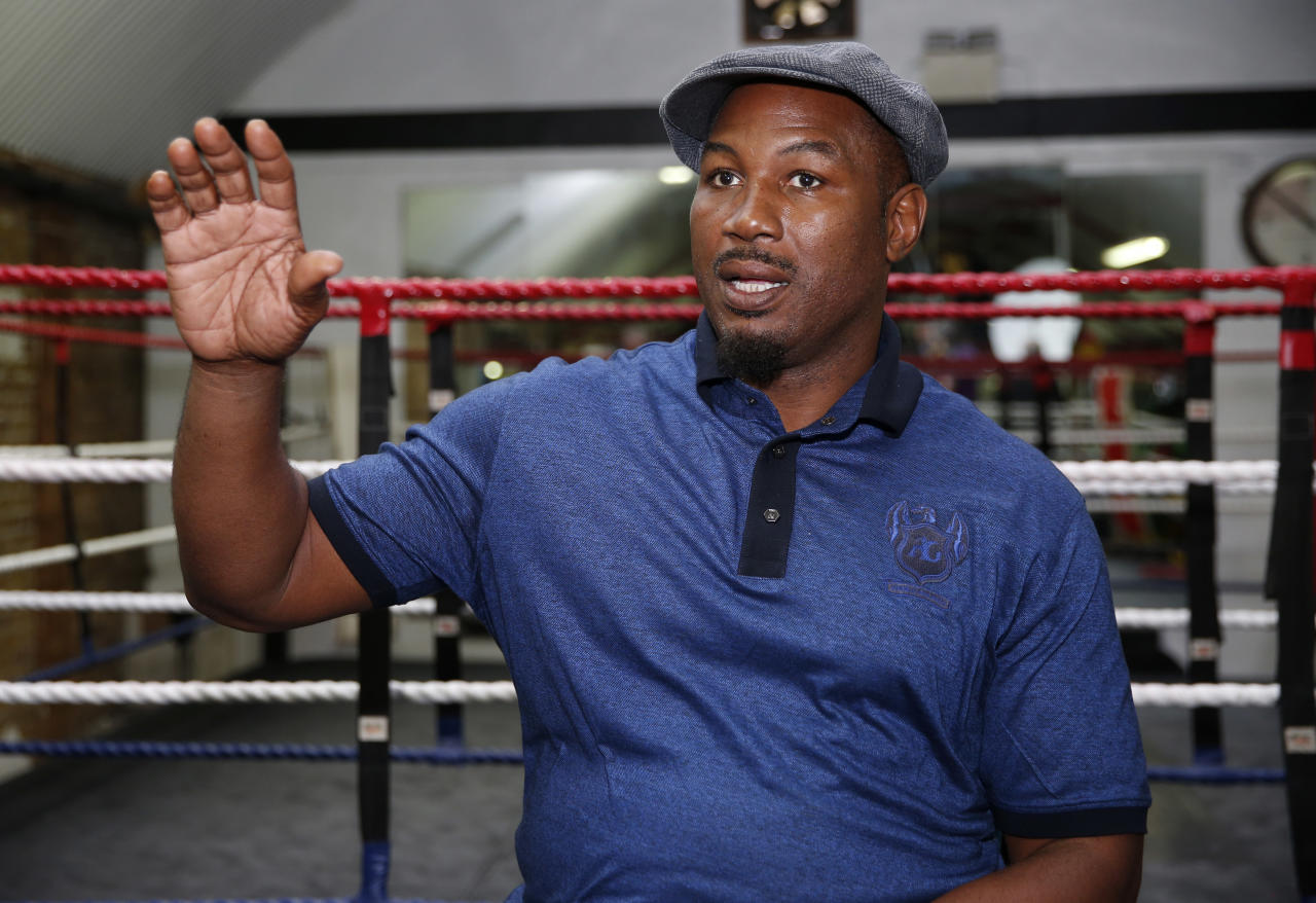 Britain Boxing - Lennox Lewis previews Anthony Joshua vs Wladimir Klitschko - Fitzroy Lodge Gym, Lambeth, London - 25/4/17 Former heavyweight champion Lennox Lewis speaks Action Images via Reuters / Matthew Childs Livepic EDITORIAL USE ONLY.