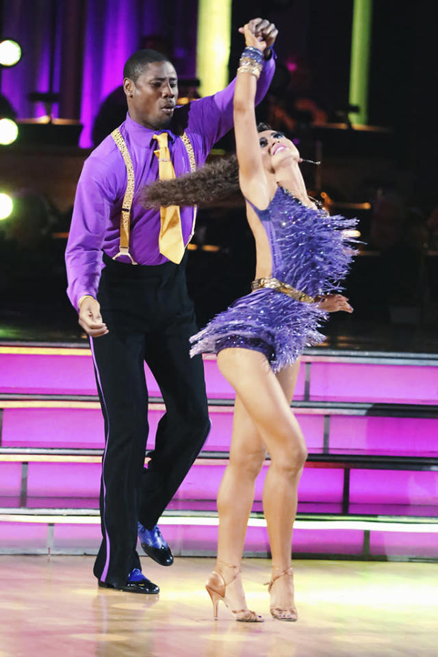 "Jacoby Jones and Karina Smirnoff perform on ""Dancing With the Stars."""