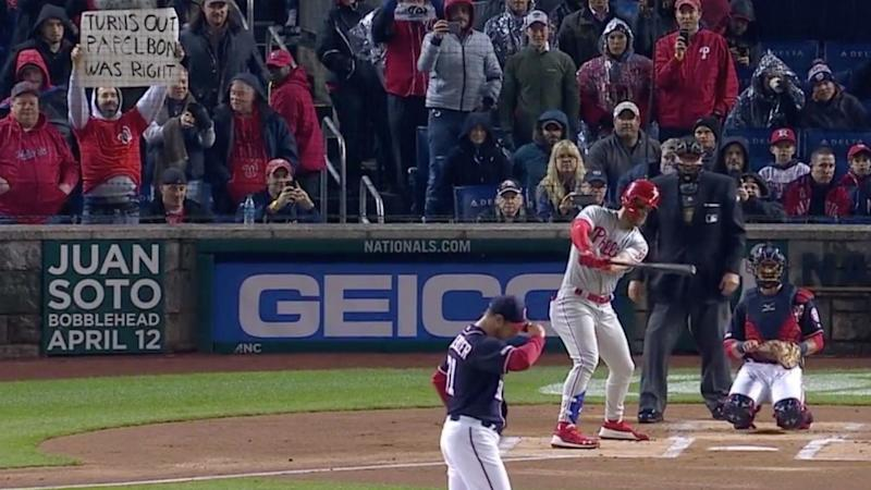 This guy's Jonathan Papelbon sign shows that Nationals fans are very upset with Bryce Harper