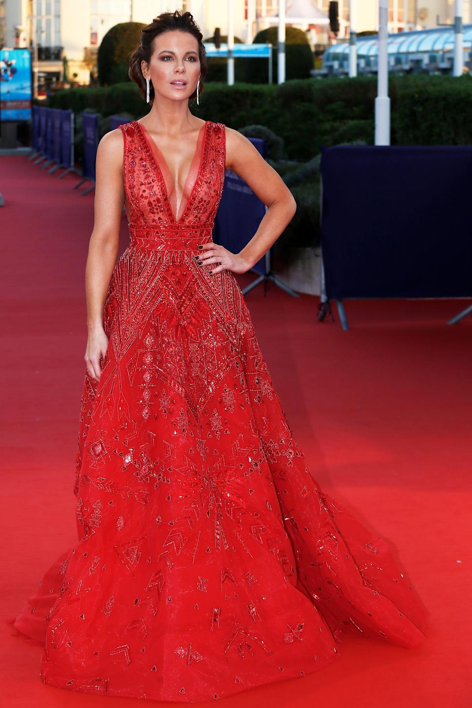 <p>Proving she's no stranger to the red carpet, Kate Beckinsale looked to Zuhair Murad for sartorial assistance ahead of the 2018 Deauville American Film Festival. The actress chose a sweeping gown heavily embellished with camera-ready crystals on 2 September. <em>[Photo: Getty]</em> </p>
