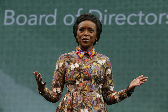 Mellody Hobson, president of Ariel Investments and a member of Starbucks Coffee Company's Board of Directors, speaks Wednesday, March 18, 2015 at Starbucks' annual shareholders meeting in Seattle. (AP Photo/Ted S. Warren)