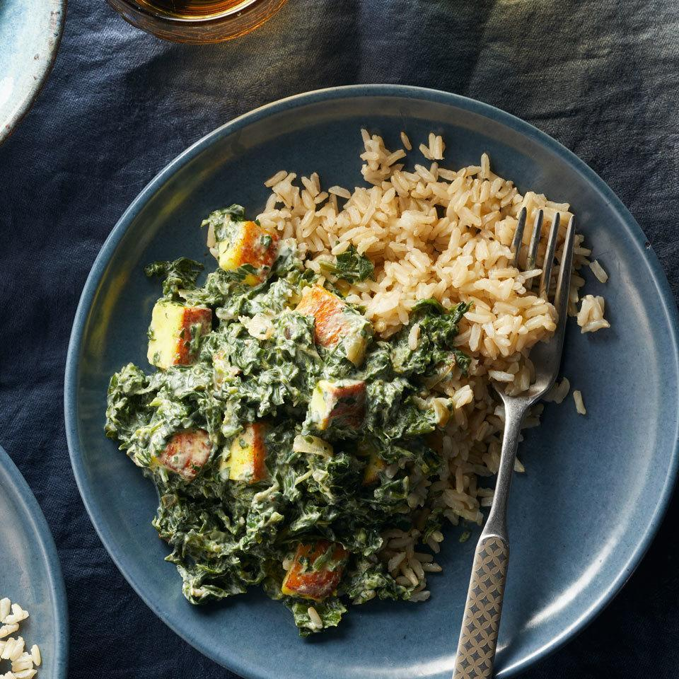 <p>The paneer cheese in this fast and easy dinner doesn't melt when it cooks. It browns instead, giving a toothsome texture to this Indian classic packed with spinach and spices. Serve over brown basmati rice to round out this healthy meal.</p>