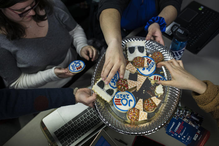 Cookies delivered to former Vice President Joe Biden's campaign office in Des Moines, Iowa, Jan. 13, 2020. (Tamir Kalifa/The New York Times)