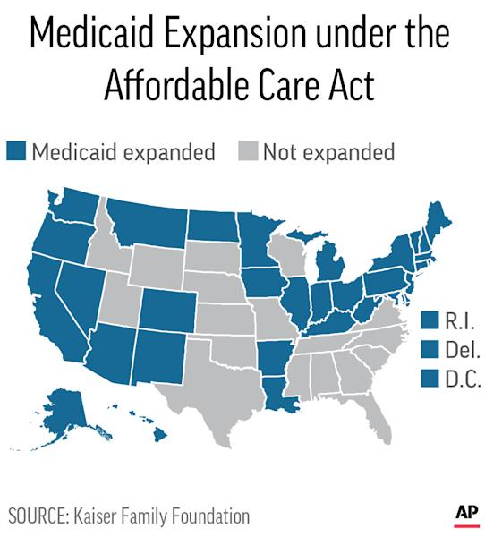 Map shows Medicaid expansion status by state; 2c x 3 1/2 inches; 96.3 mm x 88 mm;