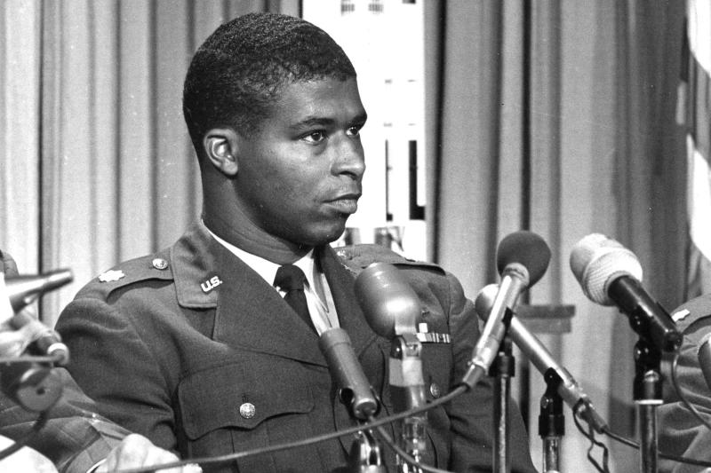 "FILE - In this June 30, 1967, file photo, Maj. Robert H. Lawrence Jr., the first black astronaut in the U.S. space program, is introduced at a news conference in El Segundo, Calif. The documentary ""Black in Space: Breaking the Color Barrier"" is scheduled to air on the Smithsonian Channel on Monday, Feb. 24, 2020, and examines the race to get black astronauts into space. (AP Photo, File)"