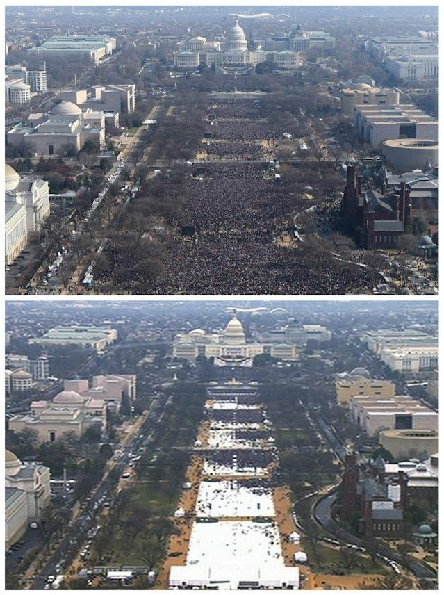 This pair of photos shows a view of the crowd on the National Mall at the inaugurations of President Barack Obama, above, on Jan. 20, 2009, and President Donald Trump, below, on Jan. 20, 2017. The photo above and the screengrab from video below were both shot shortly before noon from the top of the Washington Monument. (AP)