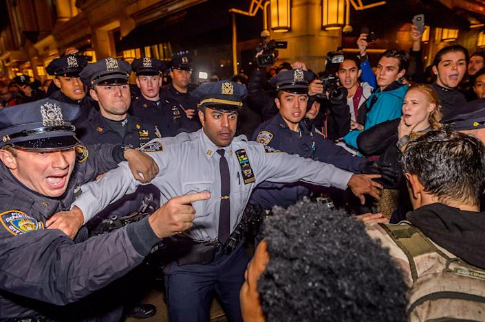 <p>An estimate of ten thousand demonstrators took the streets of Manhattan and converged outside Trump Tower in Midtown to protest the election of Donald J. Trump as president on Nov. 10, 2016. (Photo: Erik McGregor/Pacific Press/LightRocket via Getty Images) </p>