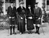 <p>The Duke of Kent, Queen Mary, Elizabeth, Duchess of York, and George, Duke of York visit Balmoral Castle. </p>