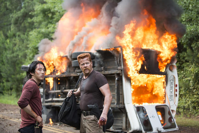 Steven Yeun as Glenn Rhee and Michael Cudlitz as Abraham Ford in AMC's <i>The Walking Dead</i>. (Photo: Gene Page/AMC)