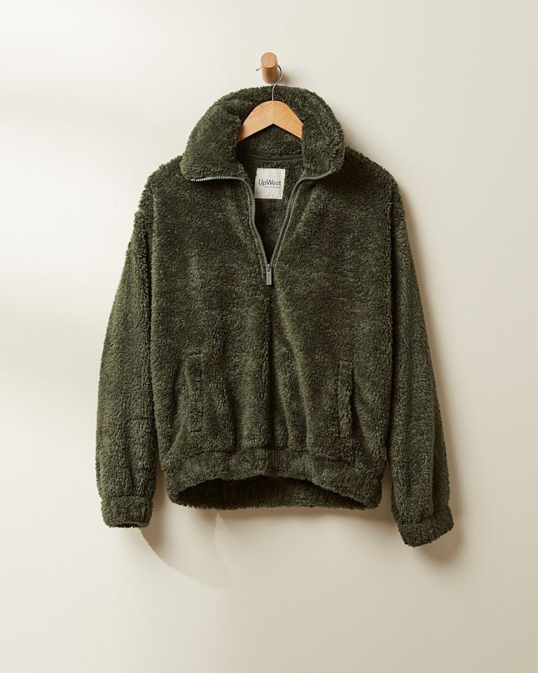 """<strong>Buy It!</strong> UpWest Sherpa Pullover, $68; <a href=""""https://upwest.com/products/womens-l-s-sherpa-1-4-zip"""">upwest.com</a>"""