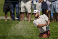 Tyrrell Hatton plays a shot from a bunker on the sixth hole during the first round of the U.S. Open Golf Championship, Thursday, June 17, 2021, at Torrey Pines Golf Course in San Diego. (AP Photo/Gregory Bull)