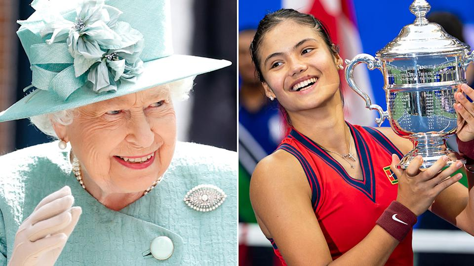 Pictured here, the Queen and newly crowned US Open women's champion Emma Raducanu.