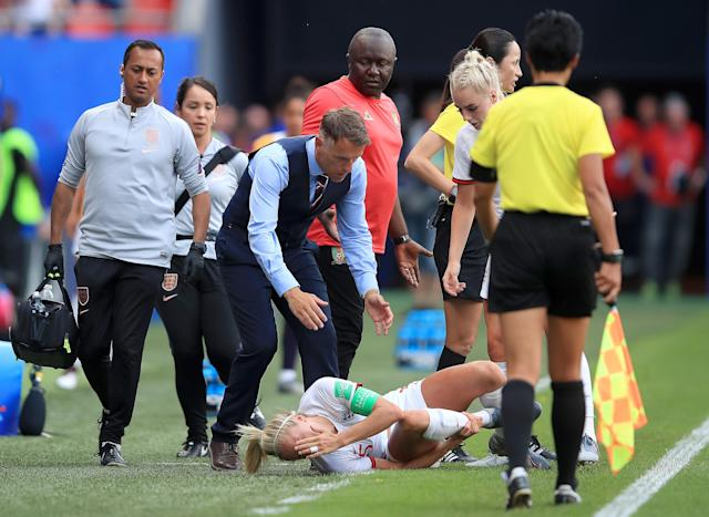 Neville believes a late tackle on Steph Houghton should've resulted in a red card. (Credit: Getty Images)