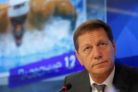 ROC chief Zhukov attends news conference ahead of Russian Olympic team departure to Rio 2016 Olympic Games in Moscow