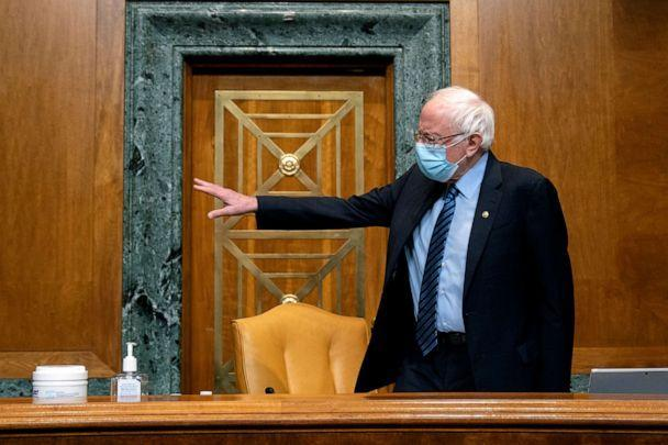 PHOTO: Sen. Bernie Sanders, I-Vt., chairman of the Budget Committee, gestures prior to a U.S. Senate Budget Committee hearing regarding wages at large corporations on Capitol Hill, February 25, 2021 in Washington, D.C.  (Stefani Reynolds-Pool/Getty Images)