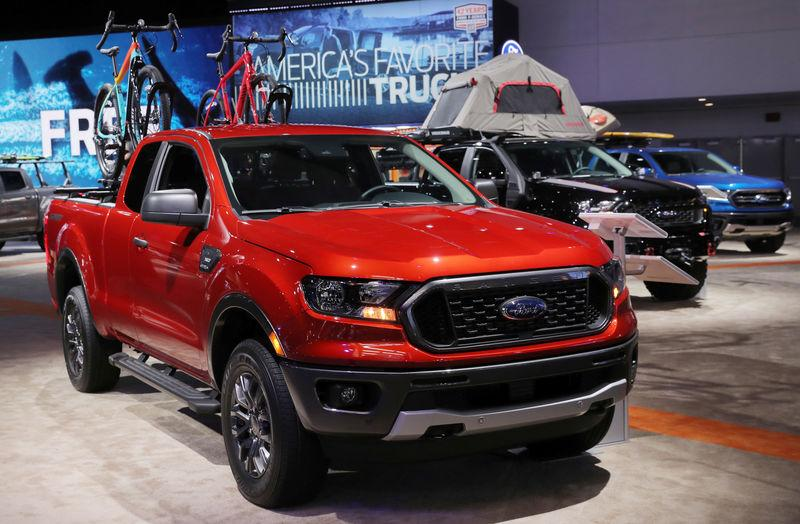 FILE PHOTO: 2019 Ford Ranger XLT Super Cab pickup truck is displayed at the North American International Auto Show in Detroit, Michigan