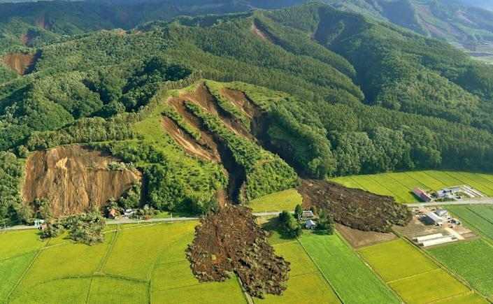 Sparsely populated countryside areas of Hokkaido were hit with multiple landslides (AFP Photo/JIJI PRESS)