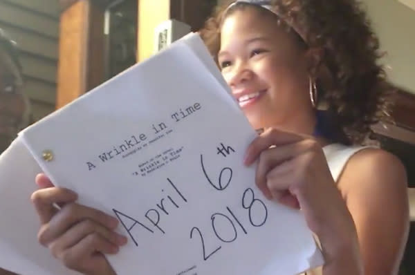 Storm Reid, who plays Meg Murray, on set during filming of A Wrinkle in Time (Ava Duvernay/Twitter/Disney)