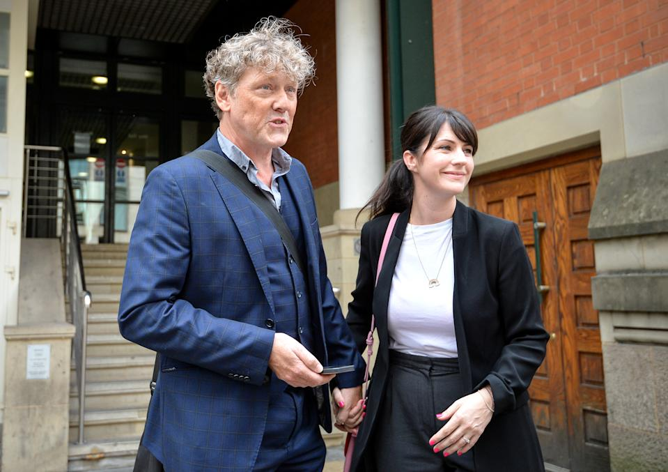 Emmerdale actor Mark Jordon, 54, and partner Laura Norton at Manchester Minshull Street Crown Court, where he has been found not guilty on all charges. The actor was accused of assault on a pensioner. (Photo by Jacob King/PA Images via Getty Images)