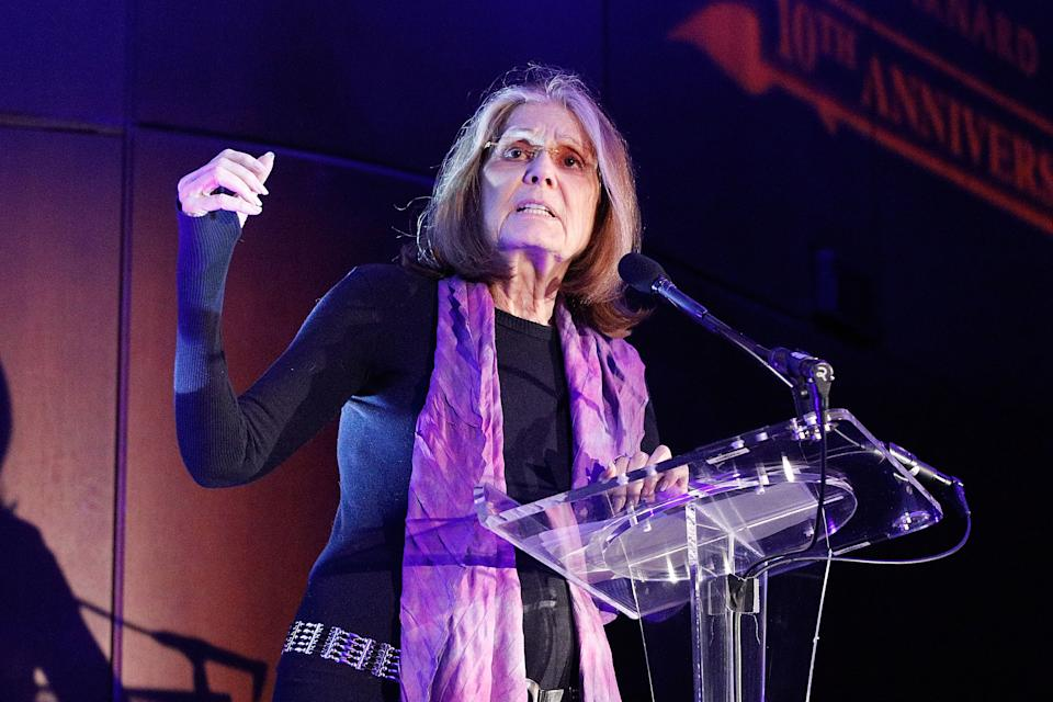 NEW YORK, NY - FEBRUARY 26:  Gloria Steinem on stage during the 2020 Athena Film Festival awards ceremony at The Diana Center at Barnard College on February 26, 2020 in New York City.  (Photo by Lars Niki/Getty Images for the Athena Film Awards)