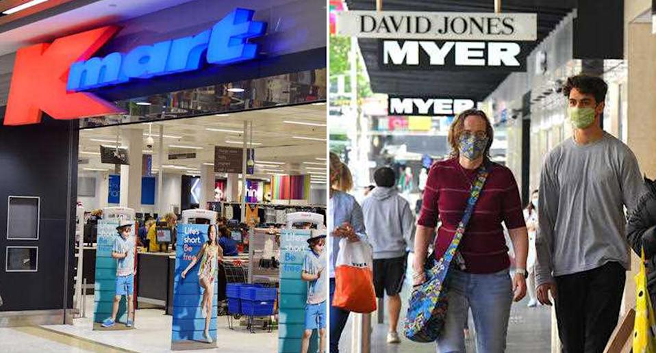 Kmart and Myer/David Jones are pictured.