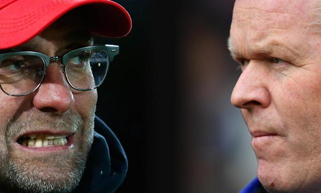 """<span class=""""element-image__caption"""">Jürgen Klopp, manager of Liverpool, left, and Everton's Ronald Koeman will go head-to-head for only the second time on Saturday in the 228th Mersyside derby.</span> <span class=""""element-image__credit"""">Photograph: Getty Images</span>"""