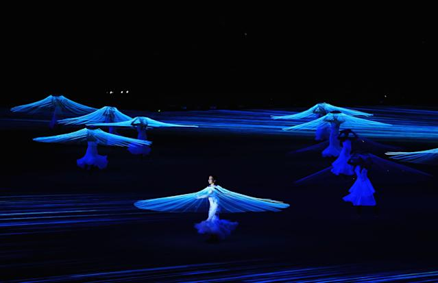 SOCHI, RUSSIA - FEBRUARY 07: Dancer Diana Vishneva performs during the Opening Ceremony of the Sochi 2014 Winter Olympics at Fisht Olympic Stadium on February 7, 2014 in Sochi, Russia. (Photo by Richard Heathcote/Getty Images)