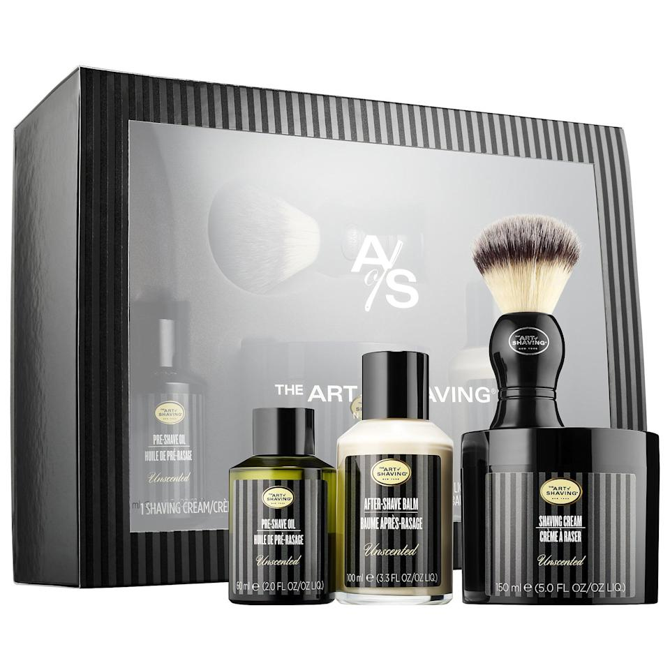 <p>One of the best things about <span>The Art of Shaving The 4 Elements of the Perfect Shave</span> ($95) set is the fact that it's free of alcohol, synthetic dyes, and fragrances which can irritate our loved ones with sensitive skin. It encourages people to use the brand's four steps of shaving - prepare, lather up, shave, and moisturize - and, as Sephora customers have noted, it's a great introduction to shaving for teenagers. Plus, after the pre-shave oil (to soften and prepare), shaving cream (to protect skin from razor burn), and after-shave balm (to soothe and rejuvenate) run out, the shaving brush can still be used with future purchases.</p>
