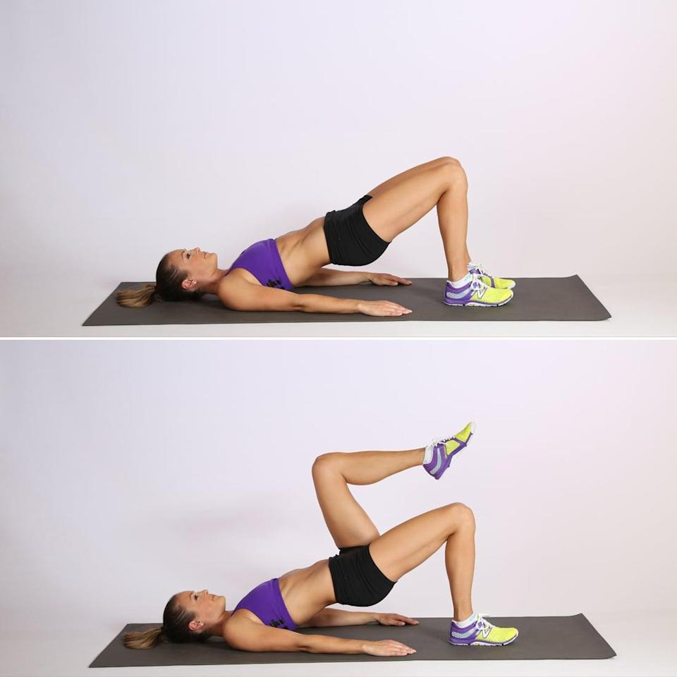 <ul> <li>Lie on your back with your hands by your side, and your heels about 12 inches from your pelvis. Press your heels into the floor to come into a bridge position with a neutral spine.</li> <li>Press your right heel into the floor, and keeping your knee bent, raise your left leg until your hip is at a 90-degree angle. Lower your left leg down, pressing through your glutes so your pelvis doesn't drift to the floor along with the leg. This counts as one rep.</li> </ul>
