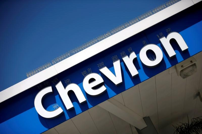 FILE PHOTO: Dow Jones Industrial Average listed company Chevron (CVX)'s logo is seen in Los Angeles