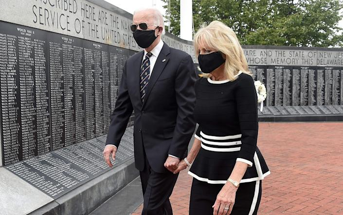 Joe Biden and his wife Jill Biden, leave Delaware Memorial Bridge Veteran's Memorial Park - AFP