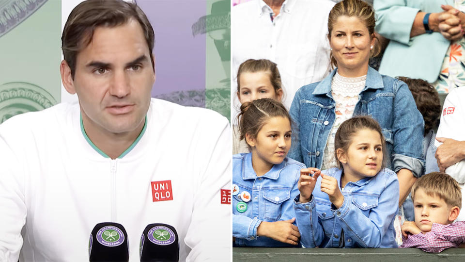 Roger Federer, pictured here his family at Wimbledon in 2019.