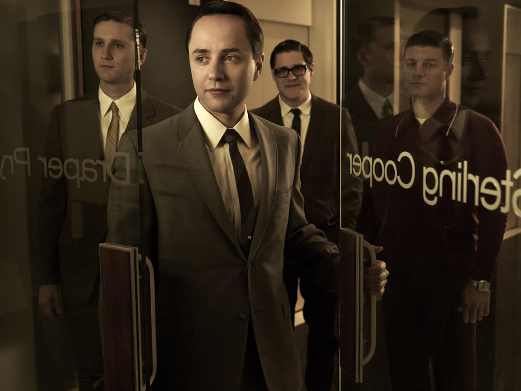 "Aaron Stanton as Ken Cosgrove, Vincent Kartheiser as Pete Campbell, Rich Sommer as Harry Crane, and Jay R. Ferguson as Stan Rizzo in ""<a target=""_blank"" href=""http://tv.yahoo.com/mad-men/show/39828"">Mad Men</a>."""