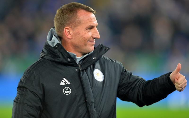 Brendan Rodgers, theLeicester City manager, has requested supporters stay to the very end of each match - Getty Images Europe