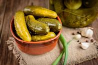 <p>Pickles pack a salty, briny punch, and when diced up and mixed into scrambled eggs they take the dish to the next level. And don't just stick with pickled cucumbers, either; mix in pickled carrots, cauliflower, jalapenos, banana peppers, capers and more. </p>