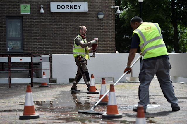 <p>Safety equipment is checked at the Dorney Tower residential block, after residents were evacuated as a precautionary measure following concerns over the type of cladding used on the outside of the buildings on the Chalcots Estate in north London, Britain, June 26, 2017. (Photo: Hannah McKay/Reuters) </p>