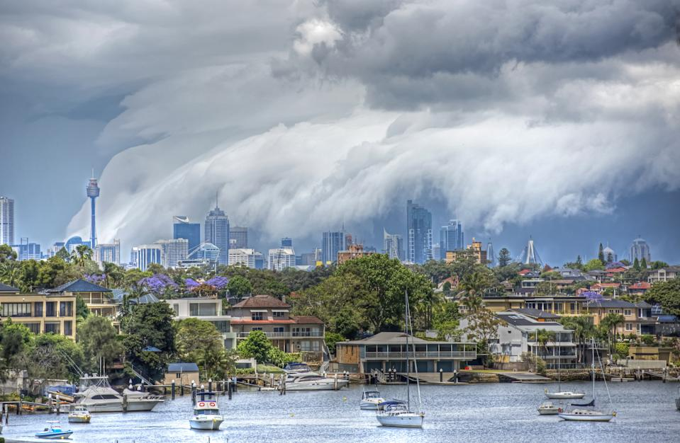 storm over Sydney and the  Parramatta river.