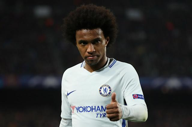 Soccer Football - Champions League Round of 16 Second Leg - FC Barcelona vs Chelsea - Camp Nou, Barcelona, Spain - March 14, 2018 Chelsea's Willian looks dejected REUTERS/Susana Vera