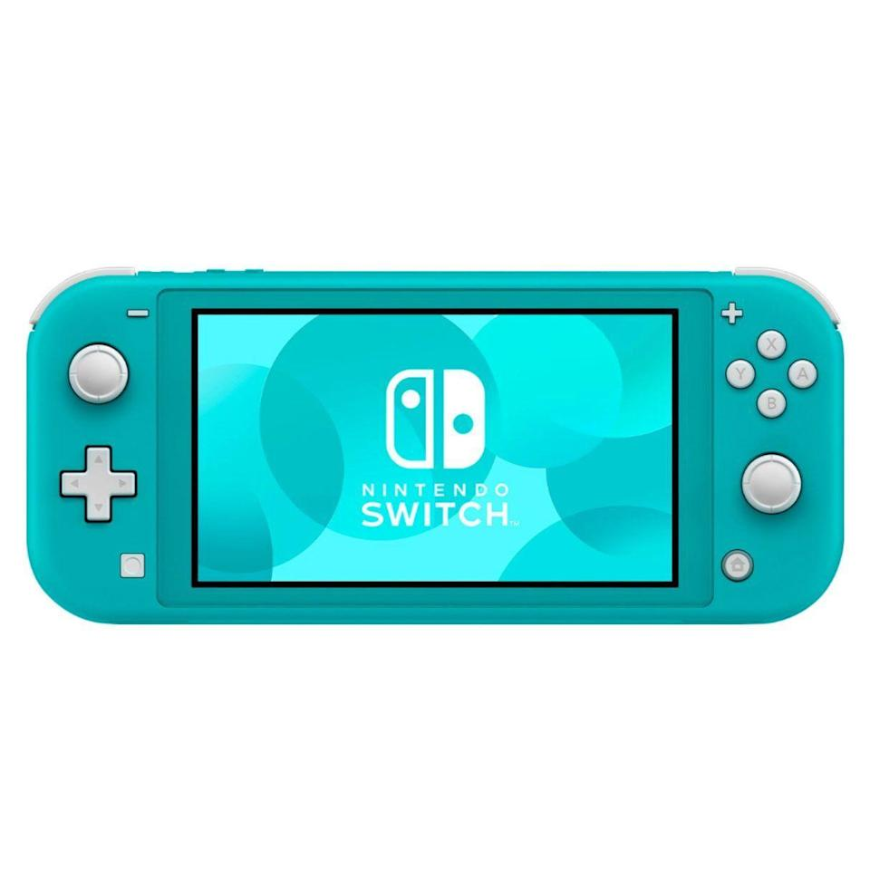 """<p><strong>Nintendo</strong></p><p>bestbuy.com</p><p><strong>$199.99</strong></p><p><a href=""""https://go.redirectingat.com?id=74968X1596630&url=https%3A%2F%2Fwww.bestbuy.com%2Fsite%2Fnintendo-switch-32gb-lite-turquoise%2F6257139.p%3FskuId%3D6257139&sref=https%3A%2F%2Fwww.womansday.com%2Frelationships%2Ffamily-friends%2Fg27498054%2Fgifts-for-first-time-dads%2F"""" rel=""""nofollow noopener"""" target=""""_blank"""" data-ylk=""""slk:Shop Now"""" class=""""link rapid-noclick-resp"""">Shop Now</a></p><p>Parents notoriously have trouble finding time for themselves and their hobbies, so a new dad might get more use out of a system that switches from handheld mode to TV mode in a snap depending on whether he's waiting in line at the grocery store or rocking baby to sleep late at night.</p>"""