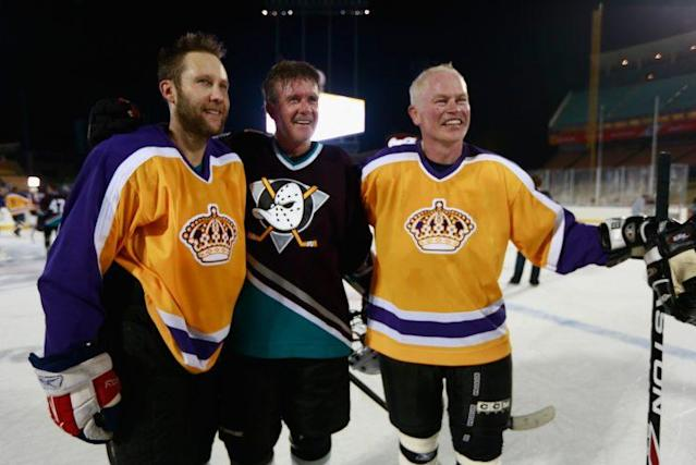 Alan Thicke (center, Ducks jersey) passed away on Tuesday after a lifetime in the entertainment industry.