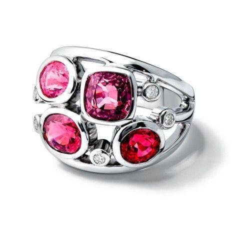 """<p>Four pink Madagascan spinels add a splash of fruity colour to this white gold and diamond cocktail ring. </p><p>White gold, spinel and diamond ring, £6,690, Cassandra Goad</p><p><a class=""""body-btn-link"""" href=""""http://www.pomellato.com/gb/b-2083_cod50184158ee.html#dept="""" target=""""_blank"""">SHOP NOW</a></p>"""