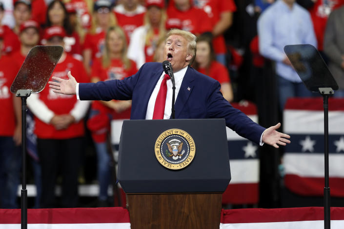 President Trump speaks at a campaign rally in Minneapolis on Thursday. (AP Photo/Jim Mone)