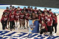 Stanford celebrates after an NCAA college basketball game against Louisville in the Elite Eight round of the Women's NCAA tournament Tuesday, March 30, 2021, at the Alamodome in San Antonio. Stanford won 78-63 to advance to the Final Four. (AP Photo/Morry Gash)