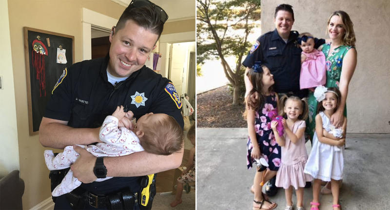 Officer Jesse Whitten officially adopted baby Harlow from a homeless woman he met on patrol.