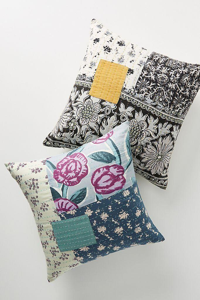 """Patch things up with this patchwork pillow that has colorful patterns that shouldn't work together, but actually do. <a href=""""https://fave.co/3kf4lgC"""" target=""""_blank"""" rel=""""noopener noreferrer"""">Find it for $40 at Anthropologie</a>."""