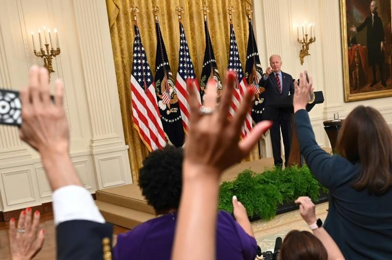 US President Joe Biden takes questions about Covid vaccinations in the East Room of the White House on August 3, 2021