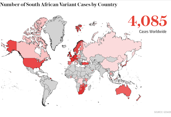 South African Variant Cases by Country