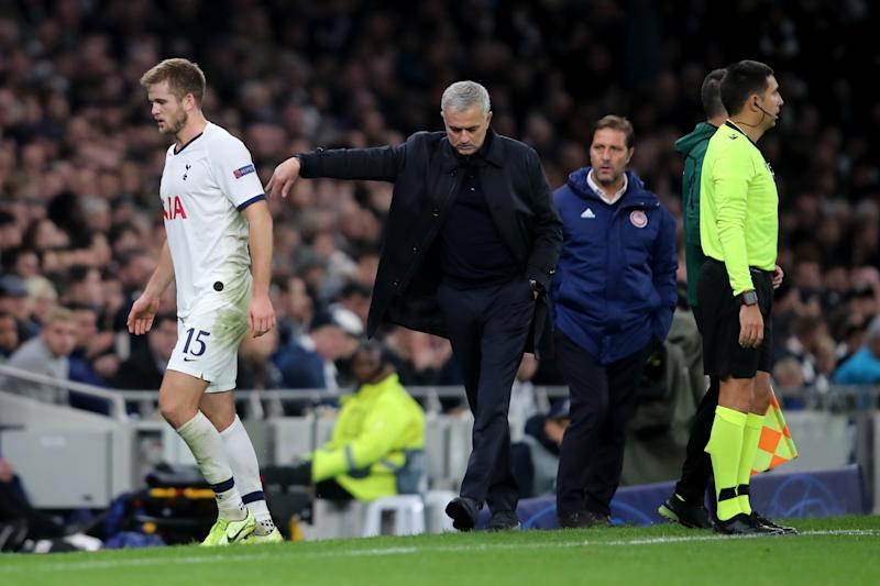 LONDON, ENGLAND - NOVEMBER 26: Jose Mourinho manager / head coach of Tottenham Hotspur reacts as he replaces Eric Dier during the UEFA Champions League group B match between Tottenham Hotspur and Olympiacos FC at Tottenham Hotspur Stadium on November 26, 2019 in London, United Kingdom. (Photo by Marc Atkins/Getty Images)