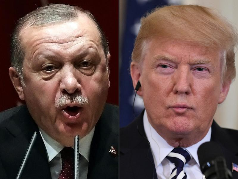 US President Donald Trump (right) spoke with his Turkish counterpart Recep Tayyip Erdogan days before the US leader's surprise announcement of a pullout of 2,000 troops from Syria (AFP Photo/ADEM ALTAN, SAUL LOEB)